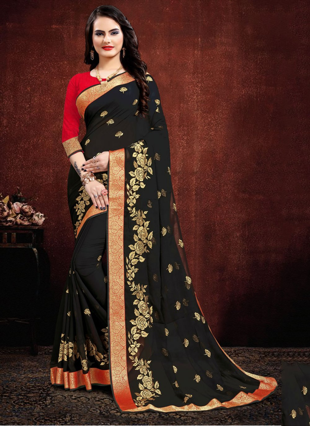 Embroidered Georgette Black Classic Saree