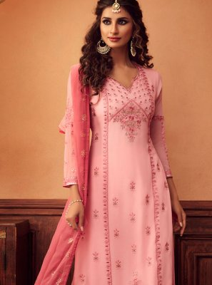 Embroidered Georgette Designer Palazzo Salwar Suit