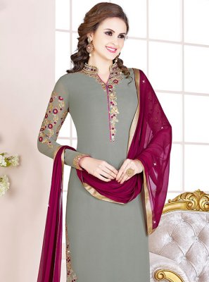 Embroidered Georgette Designer Salwar Kameez in Grey
