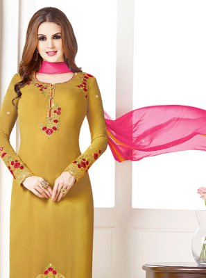 Embroidered Georgette Designer Salwar Suit in Mustard