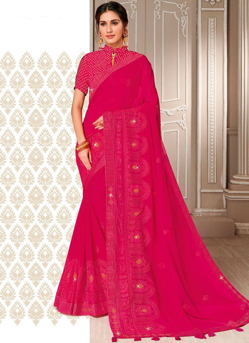 Embroidered Georgette Designer Saree