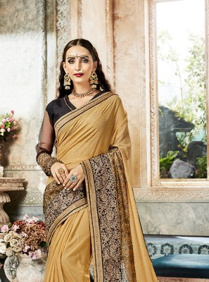 Embroidered Georgette Designer Saree in Beige