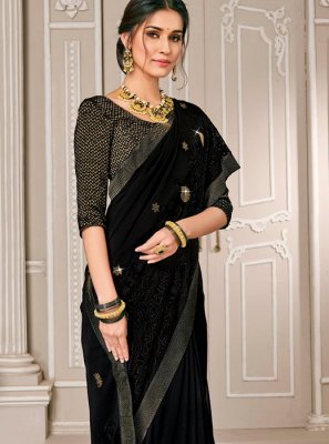 Embroidered Georgette Designer Saree in Black