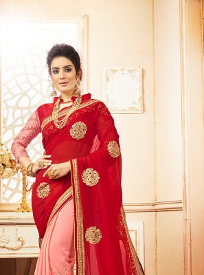 Embroidered Georgette Designer Saree in Red