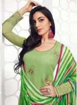 Embroidered Georgette Green Salwar Kameez