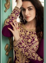 Embroidered Georgette Magenta Salwar Suit