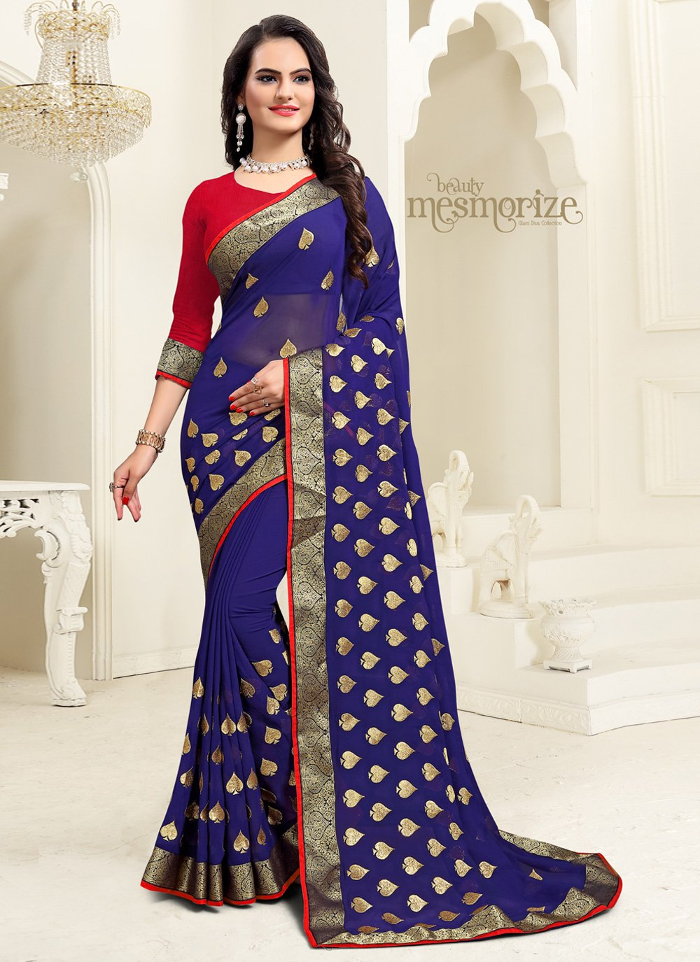 Embroidered Georgette Navy Blue Classic Saree