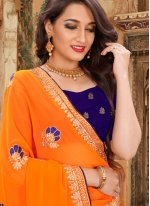 Embroidered Georgette Orange Traditional Saree
