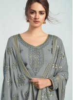 Embroidered Georgette Palazzo Salwar Suit in Grey