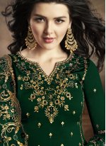 Embroidered Georgette Palazzo Suit in Green