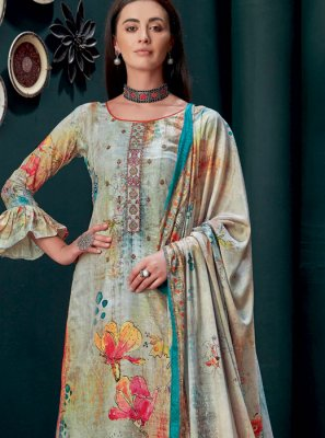 Embroidered Georgette Palazzo Suit in Multi Colour