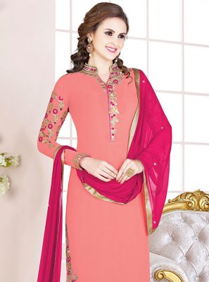 Embroidered Georgette Peach Designer Salwar Kameez