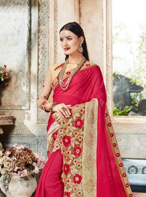 Embroidered Georgette Pink Designer Saree