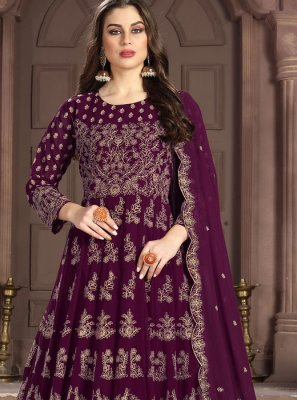 Embroidered Georgette Purple Anarkali Salwar Suit