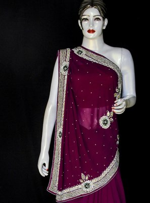 Embroidered Georgette Purple Designer Saree