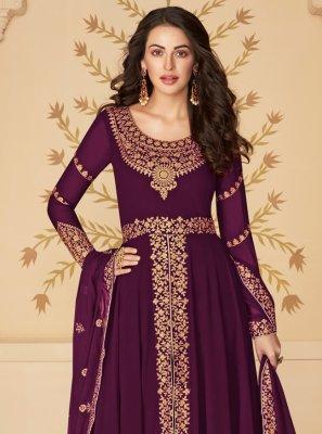 Embroidered Georgette Purple Designer Suit