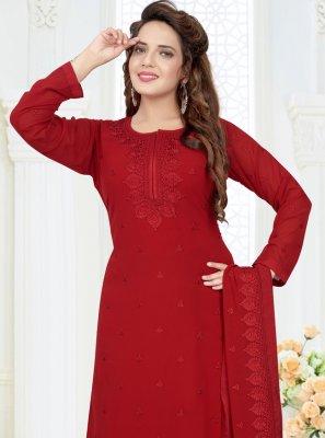 Embroidered Georgette Red Designer Salwar Suit