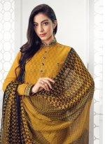 Embroidered Georgette Salwar Kameez in Yellow