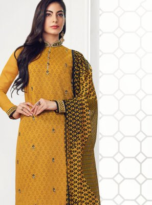 Embroidered Georgette Salwar Kameez in Yellow