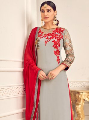 Embroidered Georgette Salwar Suit in Grey