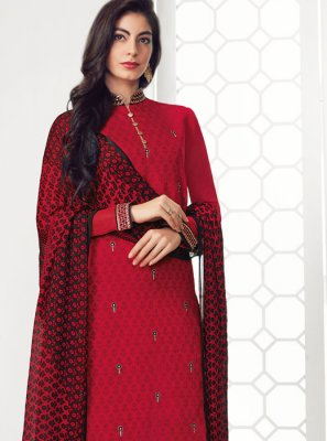Embroidered Georgette Salwar Suit in Red