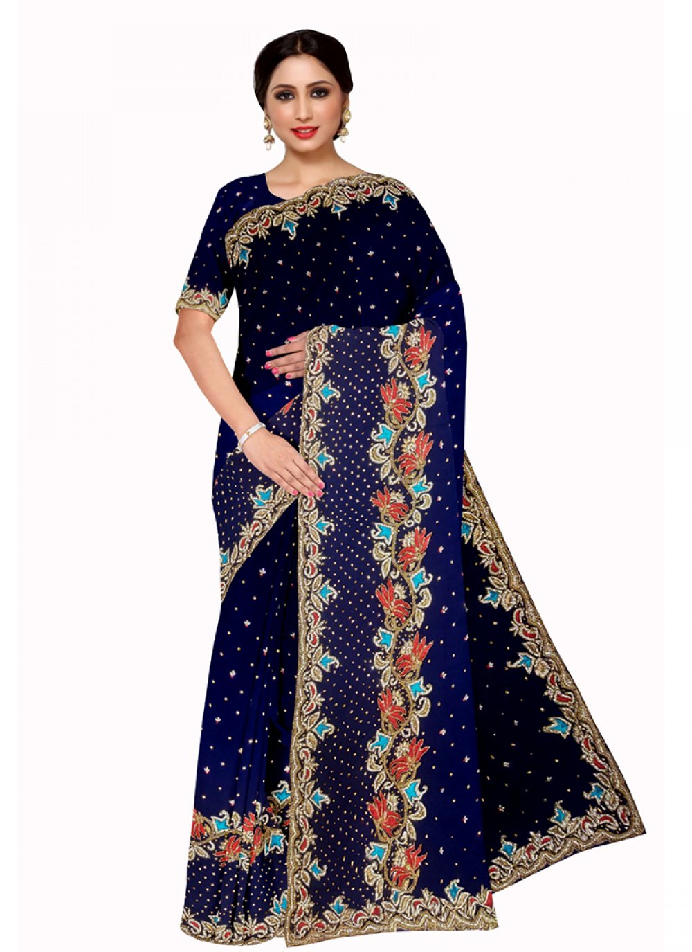 Embroidered Georgette Saree