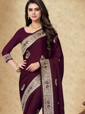 Embroidered Georgette Satin Black Designer Saree