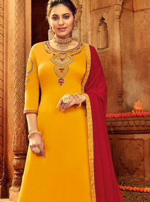 Embroidered Georgette Satin Designer Palazzo Salwar Suit
