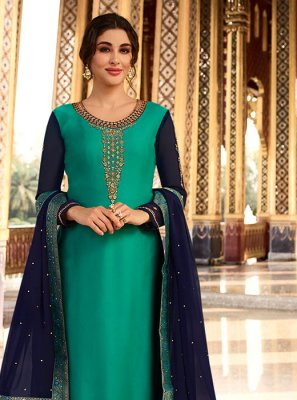 Embroidered Georgette Satin Designer Palazzo Suit in Sea Green