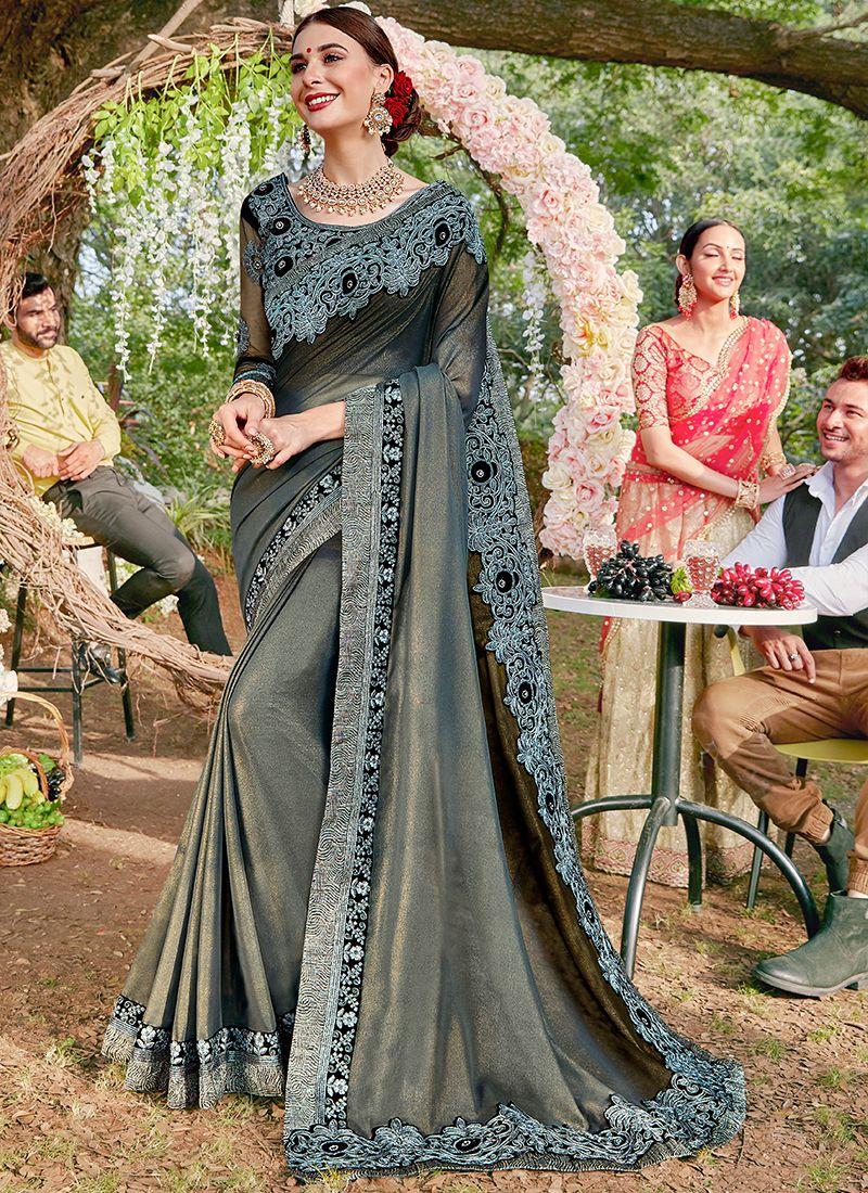 Embroidered Georgette Satin Designer Saree