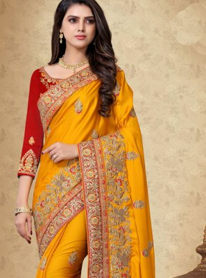 Embroidered Georgette Satin Designer Saree in Yellow