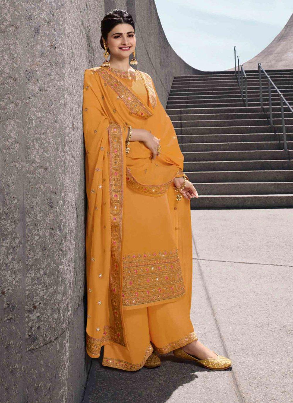 Embroidered Georgette Satin Salwar Kameez in Yellow