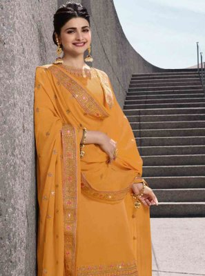 Embroidered Georgette Satin Salwar Kameez in Yellow