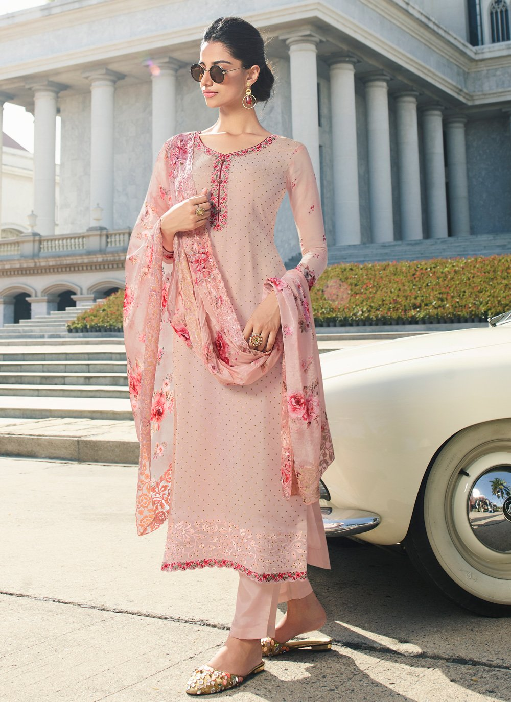 Embroidered Georgette Straight Salwar Suit