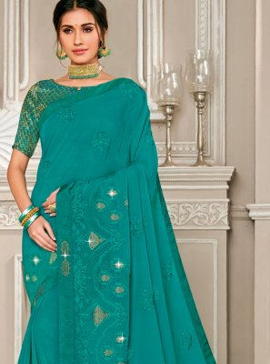 Embroidered Georgette Teal Designer Saree