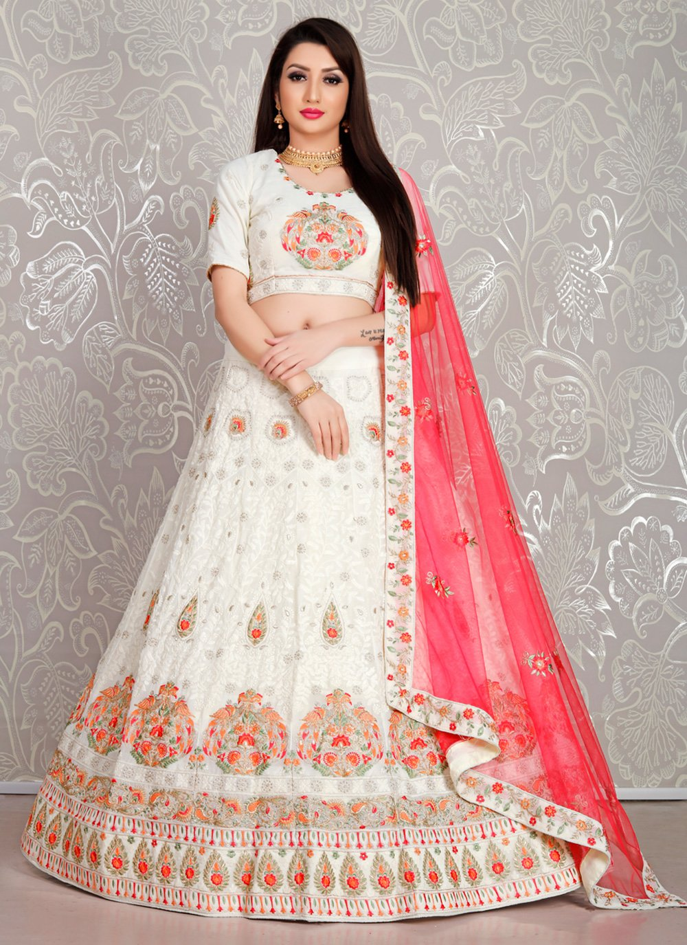 Embroidered Georgette Trendy Lehenga Choli in White