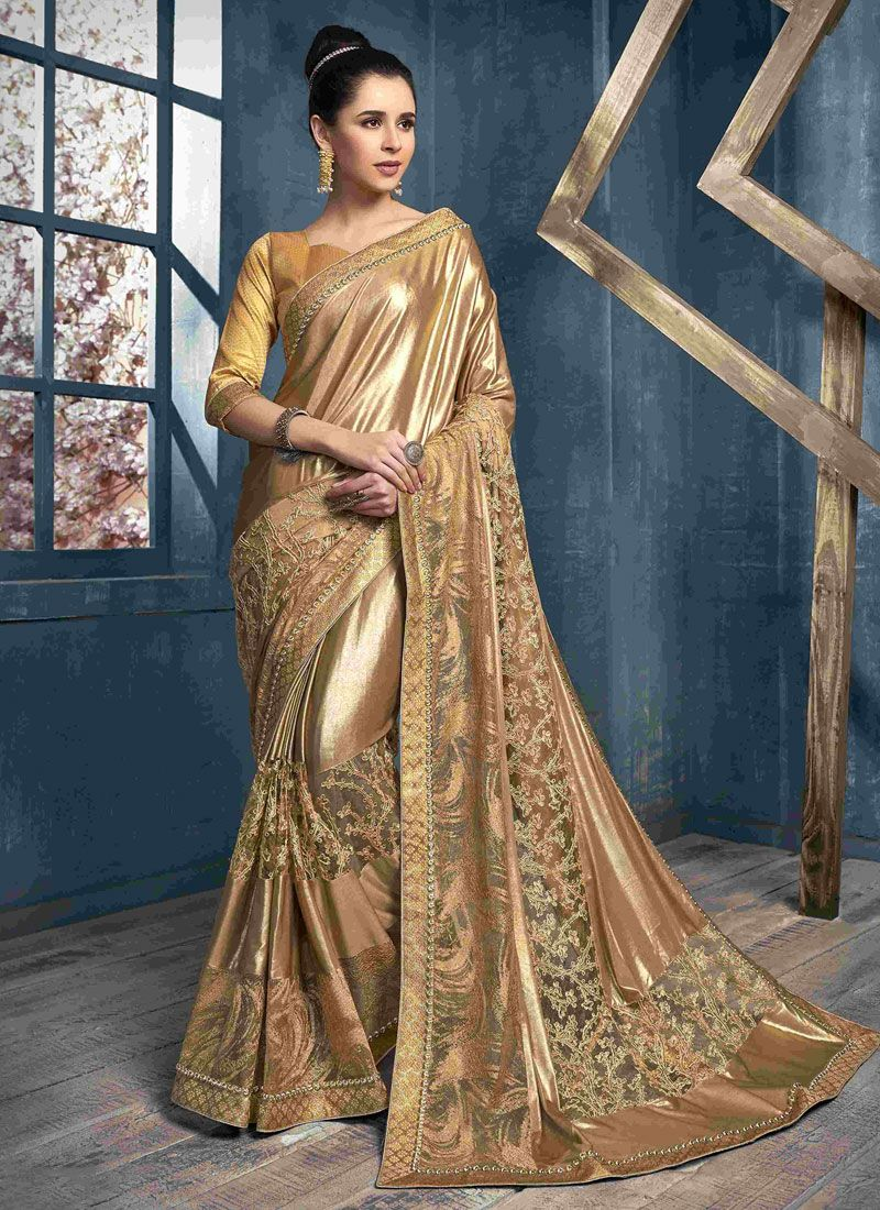 Embroidered Gold Net Classic Saree