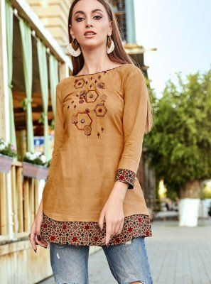 Embroidered Gold Rayon Party Wear Kurti