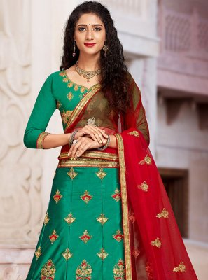 Embroidered Green Art Silk Trendy A Line Lehenga Choli