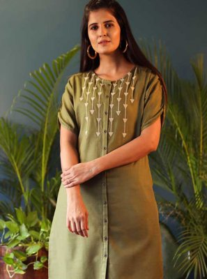 Embroidered Green Casual Kurti