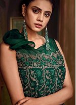 Embroidered Green Designer Gown