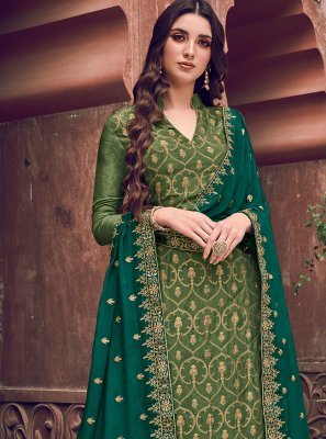 Embroidered Green Designer Salwar Kameez