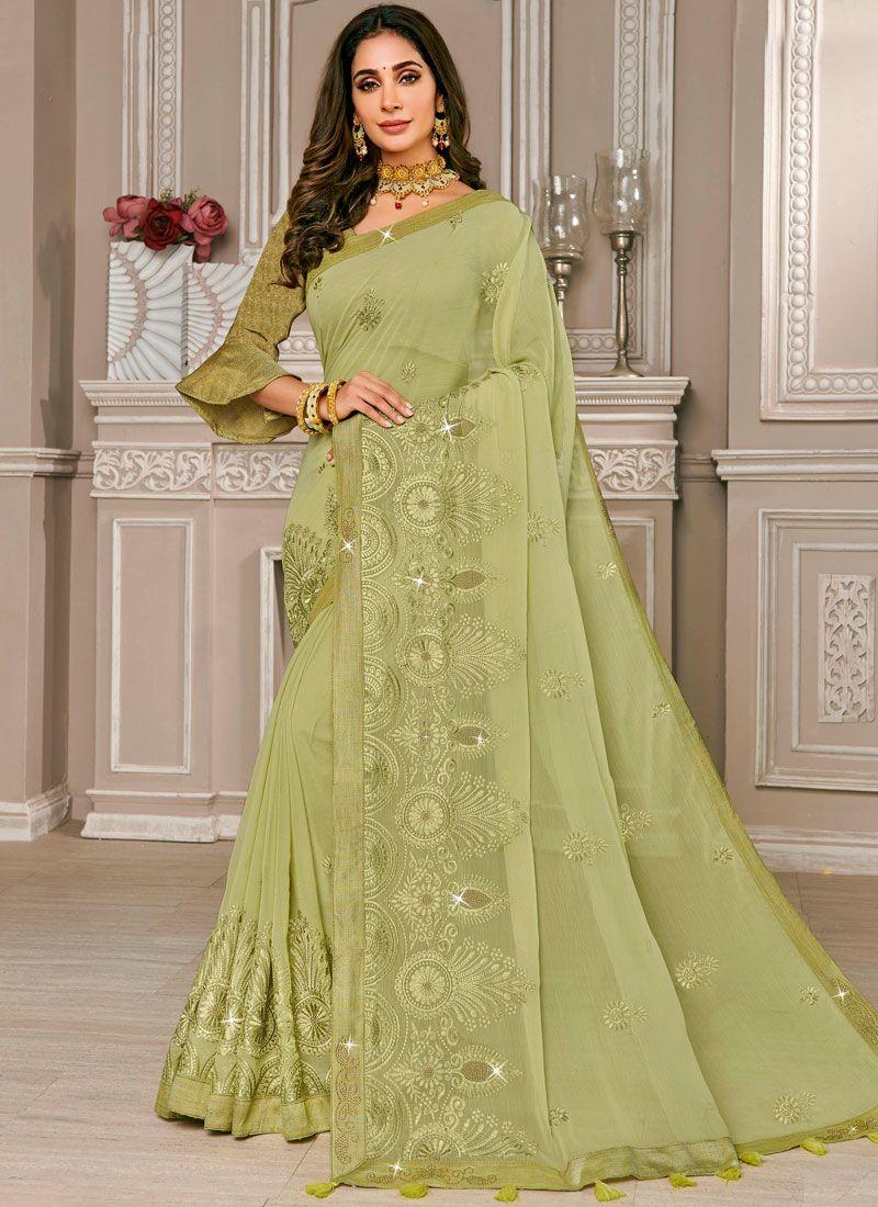 Embroidered Green Designer Saree