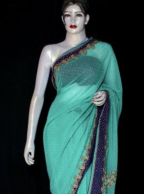 Embroidered Green Designer Saree