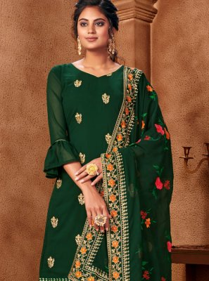 Embroidered Green Faux Georgette Palazzo Suit