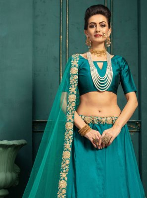 Embroidered Green Malbari Silk  Lehenga Choli