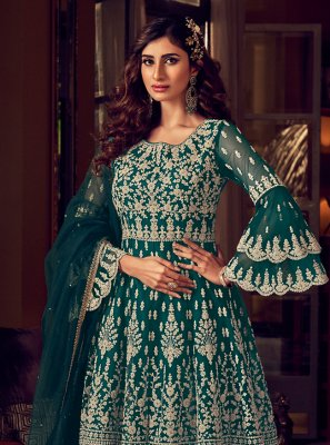 Embroidered Green Net Trendy Salwar Suit