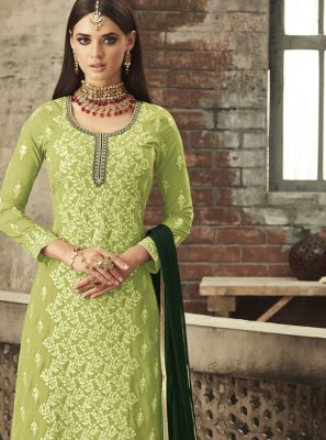 Embroidered Green Palazzo Salwar Suit