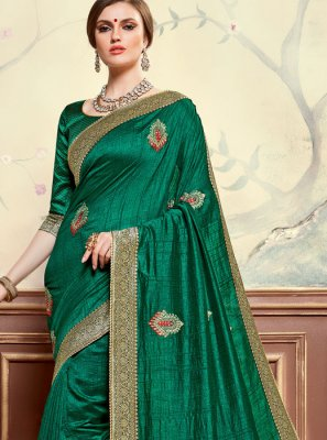 Embroidered Green Poly Silk Classic Designer Saree