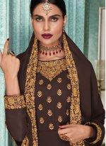 Embroidered Brown Salwar Kameez
